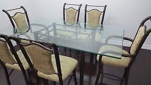 Large glass dining table with 6 chairs  London Ontario image 1