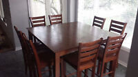 Solid Hardwood Pub Style Table w/ 8 chairs