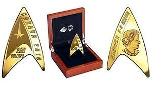 Star Trek $200. Delta Shaped 50th Anniversary Pure Gold Coin