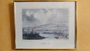 Vintage antique color ink print - Halifax 1832