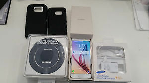 SAMSUNG S6 UNLOCKED WITH BOX,WIRELESS CHARGER,2 CASES