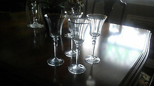 Two Mikasa Jamestown Gold Crystal Wine Goblets