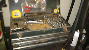 3 drawer tool box full of tools ratchets, extensions, sockets