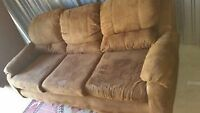 brown microfiber 3 seater couch delivery included