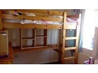 Solid Pine High Sleeper / Loft Bed