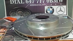 FRONT+REAR 4 DRILLED SLOTTED BRAKE ROTORS AND 8 CERAMIC PADS BMW