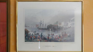 Vintage antique color ink print - Toronto 1841