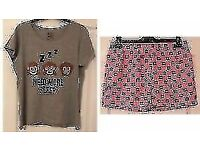 LADIES SHORT MONKEY PAJAMA SET TOP AND SHORTS NIGHTWEAR, UK 12-14