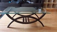 Nice Wood Glass Top COFFEE TABLE From Brick NEW CONDITION