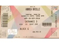Andrea Bocelli concert, Dublin, Wed 28th Sept at 8pm