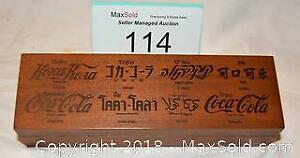 COCA-COLA promotional wooden box with foreign languages