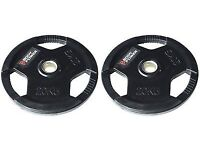 Body Power 20kg Solid Rubber Tri-Grip 2inch Weight Plates x2
