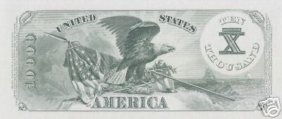 Proof Print by the BEP -Back of 1878 $10,000 U.S. Note