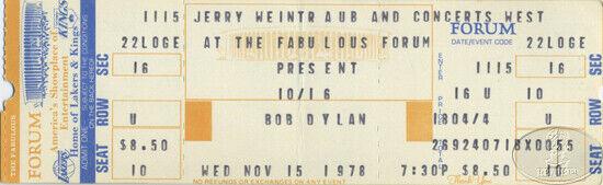 BOB DYLAN 1978 Unused Concert Ticket L.A. FORUM