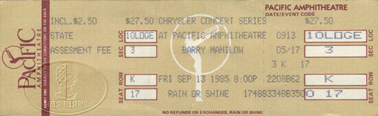 BARRY MANILOW 1985 Paradise Cafe Unused Concert Ticket