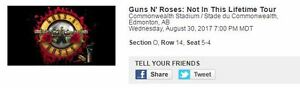 Guns N' Roses: Not In Your Lifetime Tour -Great Seats Face Value