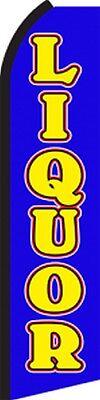Liquor Sale Blue Swooper Flag Tall Curved Vertical Feather Flutter Banner Sign