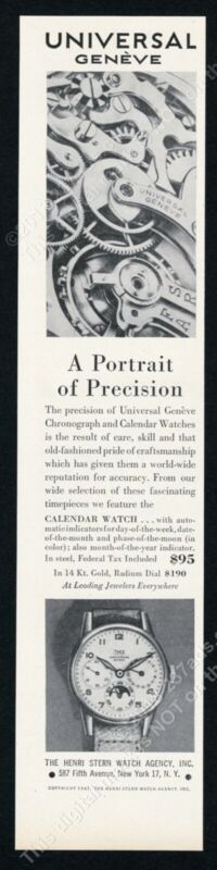 1947 Universal Geneve 3 dial calendar watch photo vintage print ad