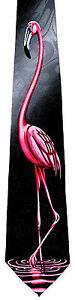 Pink Flamingo Mens Neck Tie Tropical Bird Necktie Florida Novelty Funny Gift New