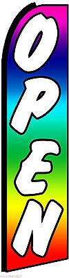 Open Rainbow Swooper Banner Flag Sign New 2.5 Ft X11.5ft Best Quality Us Seller