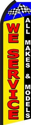 We Service Yr Car Auto Repair Garage Swooper Flag Tall Vertical Bow Banner Sign