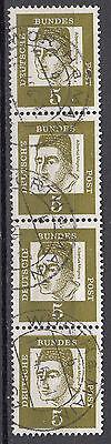 BRD 1961 Mi. Nr. 347 Fl. Papier 4er Streifen gestempelt (18541)