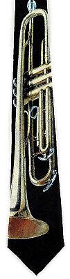 (Brass Trumpet Mens Necktie Musical Instrument Trumpets Music Black Neck Tie )