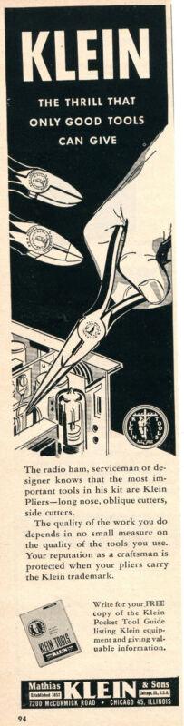 1956 Print Ad of Mathias Klein & Sons Tools Radio Ham Serviceman Pliers
