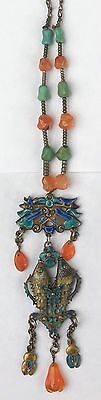 Antique Chinese Silver Enamel Articulated Fish Necklace W/Turquoise & Carnelian