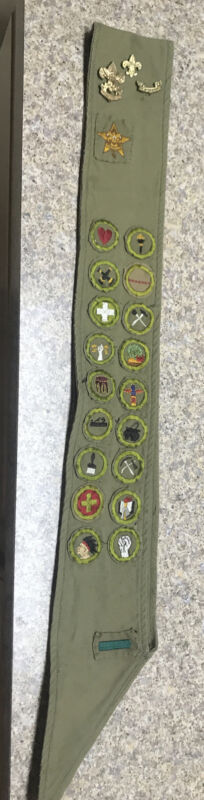 VTG 1911-1933 Boy Scout Scout Merit Badge Sash-21 TYPE A SQ. BADGES-Great