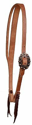 (Harness leather split ear bridle headstall copper spotted buckle cowboy USA H365)