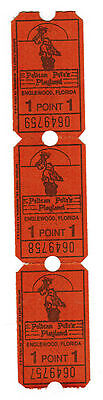 3 Pelican Pete's Englewood Florida Playland Amusement Park Point Tickets