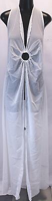 Boohoo Women's Plus O Ring Full Length Beach Maxi Dress GS2 White Size US:12 NWT