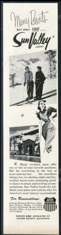 1953 Sun Valley ski area skiing couple photo vintage print ad