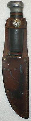 ANTIQUE 1916 MARBLES GLADSTONE KNIFE W/ LEATHER SHEATH
