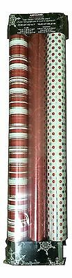 Kirkland Signature CHRISTMAS GIFT WRAP 3pk Wrapping Paper 93262 red/polka dot