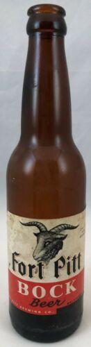 Fort Pitt Bock Beer 12 Fluid Ounce Beer Bottle with Paper Label