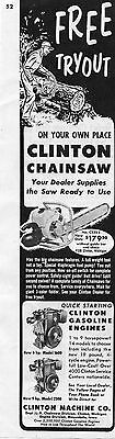 1954 Clinton CS323 Chainsaw & Gasoline Engine 1600 2500 Magazine Ad