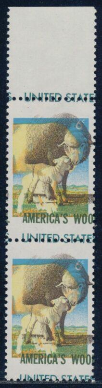"#1423 Var. 6¢ ""american Wool"" Pair Major 2-way Color Shift Error Bq8715"