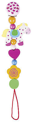 Heimess HORSE CLIP ON DUMMY/SOOTHER/PACIFIER CHAIN Wooden Baby/Child Toy BN