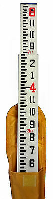 Universal 8 Foot Fiberglass Grade Rod with Inches Scale & Carrying Case
