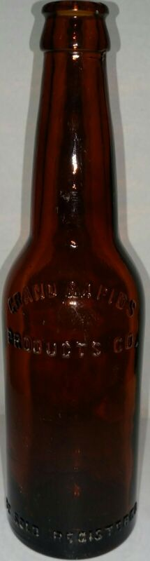 VINTAGE GRAND RAPIDS PRODUCTS CO. EMBOSSED BROWN GLASS BEER BOTTLE 1900s