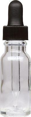 100 Pack Clear Glass Boston Round Bottle W Black Glass Dropper 0.5 Oz