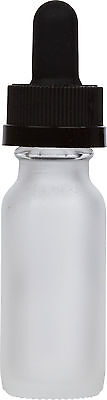 25 Pack Frosted Glass Bottle W Black Child Resistant Glass Dropper 0.5 Oz