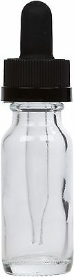 Clear Glass Bottle W Black Child Resistant Glass Dropper 0.5 Oz