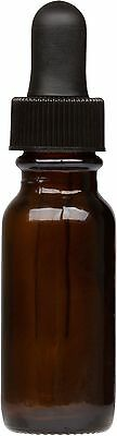 12 Pack Amber Glass Boston Round Bottle W Black Glass Dropper 0.5 Oz