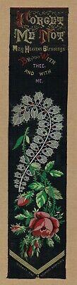 Forget me not - Original Victorian large Thomas Stevens silk bookmark