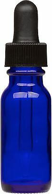 12 Pack Cobalt Blue Glass Boston Round Bottle W Black Glass Dropper 0.5 Oz