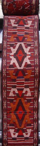 60 Feet Complete Tent Band Antique Yamoud Turkoman Hand Woven Wool Textile Rug