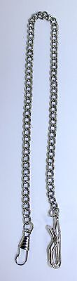 Beautiful Vintage Silver Tone Link Pocket Watch Chain Fob Pendant 14